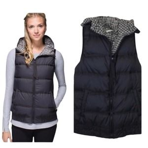 Lululemon Chilly Chill Puffy Vest Black Gingham 6